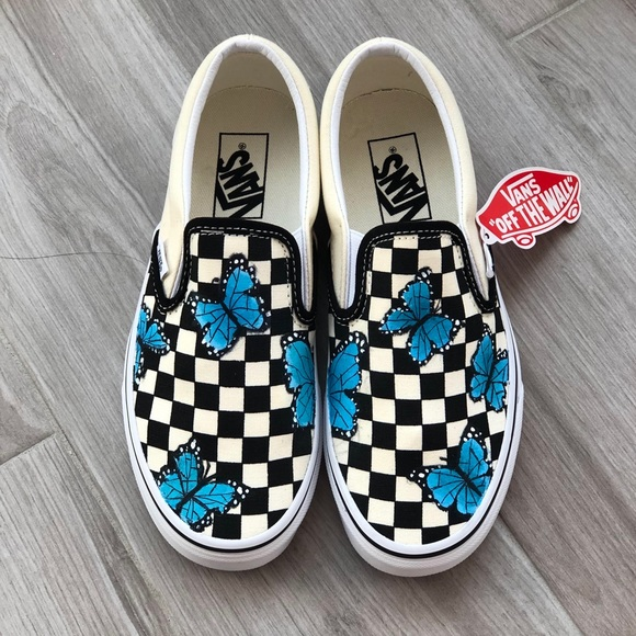 Handpainted Butterfly Checkered Vans